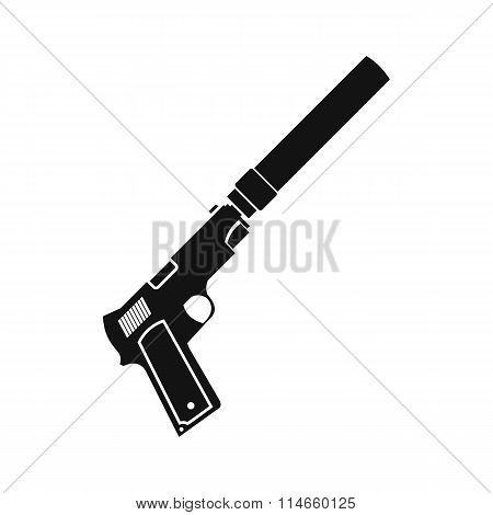 Pistol with silencer black simple icon