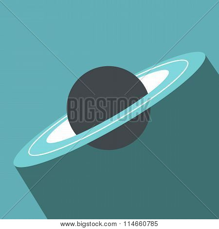 Saturn flat icon with shadow
