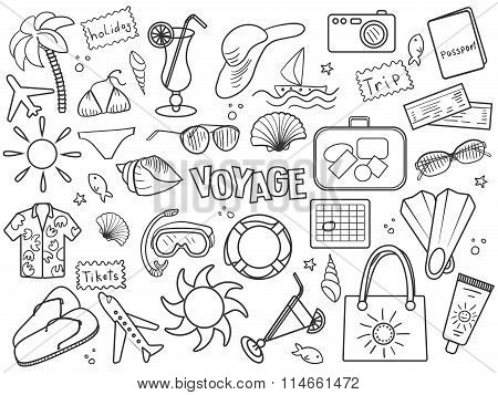 Voyage colorless set vector