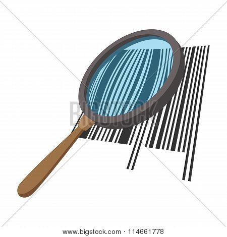Loupe with a barcode cartoon icon