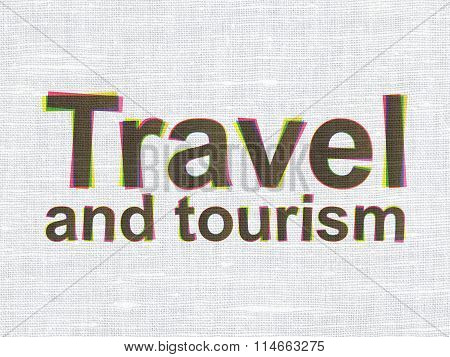 Vacation concept: Travel And Tourism on fabric texture background