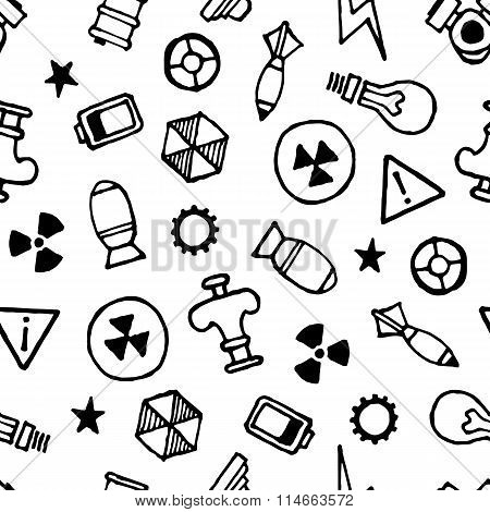 Nuklear Elements Hand Drawn Seamless Pattern, White Background