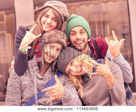 Best Friends Taking Selfie Outdoors With Funny Face Expression And Fashion Clothes - Happy Moments