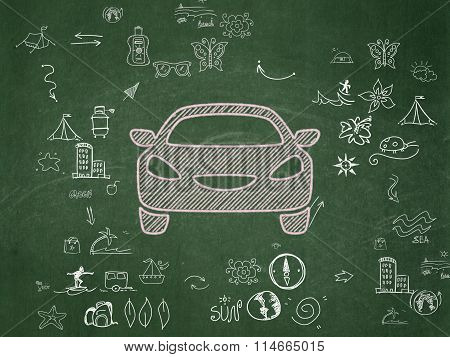 Tourism concept: Car on School Board background