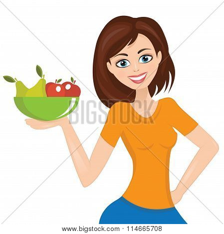 Smiling Woman Presenting, Plate With Fruit