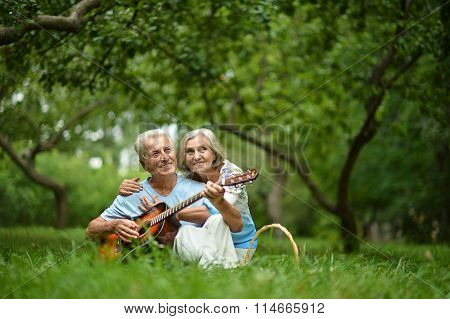 Mature couple with guitar   in park