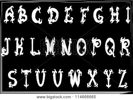 Hand-drawn Vintage Gothic Styled Abc Letters