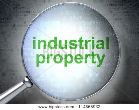 Law concept: Industrial Property with optical glass