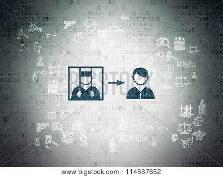 Law concept: Criminal Freed on Digital Paper background