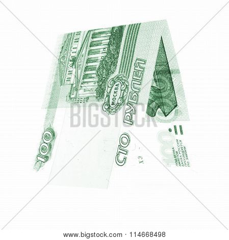 Green 100 Rubles Folded In Half, Russian Roubles Isolated White
