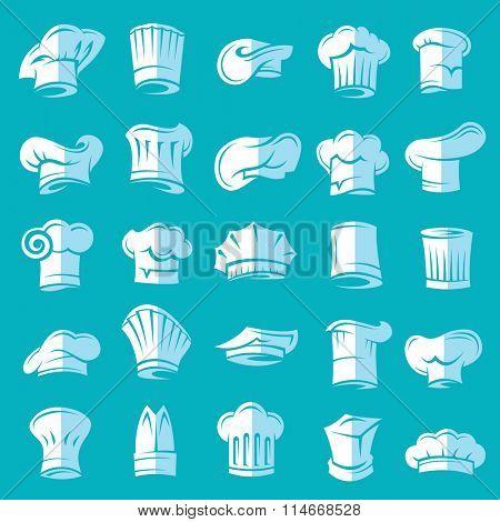 set of twenty five chef hats, flat design
