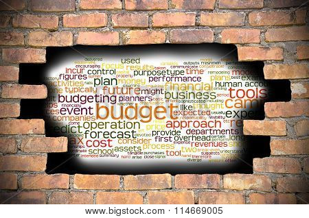 Hole At The Brick Wall With Budget Word Cloud Inside
