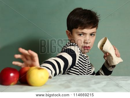 Boy Want To Eat Fast Food  Roll Instead Of Apples