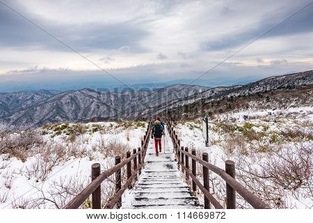 Hikers In Winter Mountains,winter Landscape White Snow Of Mountain In Korea.