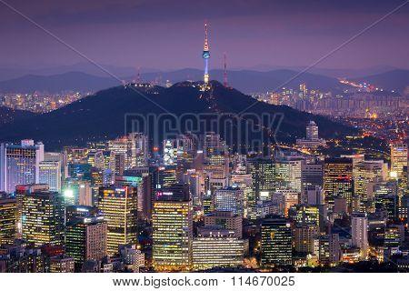 Korea,seoul City Skyline .the Best View Of South Korea.