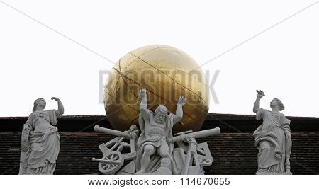 VIENNA, AUSTRIA - DECEMBER 09, 2011: Atlas, supporting the celestial globe - Hofburg, Vienna, Austria on December 09, 2011