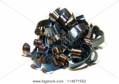 blue metal shavings