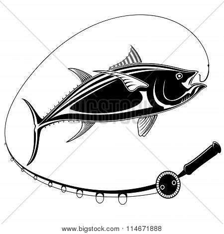 Tuna Fish With Fishing Rod Black White