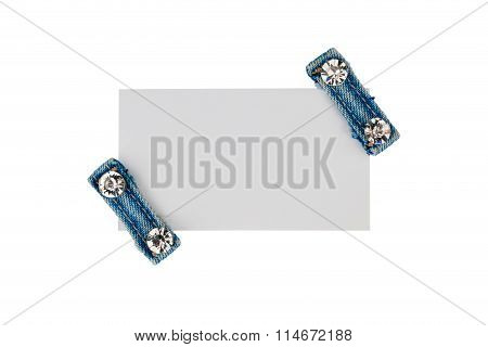 Business Card With Two Straps Jeans With Rhinestones, Isolated On A White Background