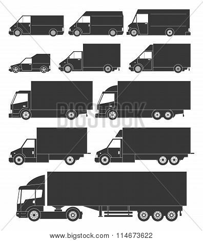 Set Of Vector Delivery Cars Icons