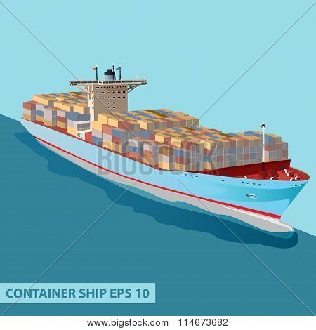 Cargo Ship Containers Ocean Blue