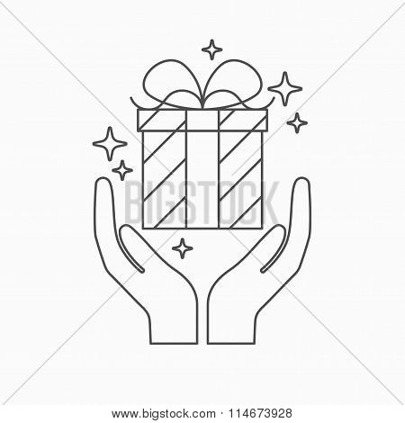 Hands Holding A Gift.