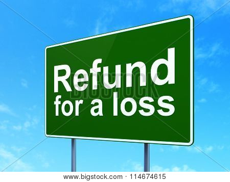 Insurance concept: Refund For A Loss on road sign background