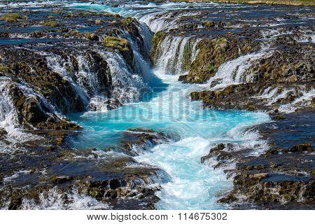 The beautiful Bruarfoss waterfall