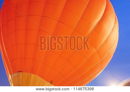 Impressive Red Air Balloon Levitating During Its Night Show With Glowing Show Outdoors.