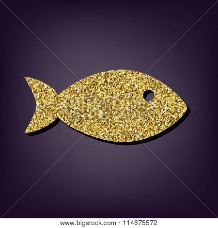 Golden style icon on perple background