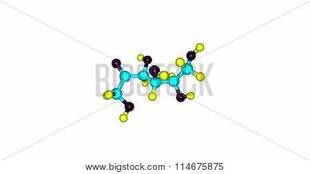 Fructose molecular structure isolated on white