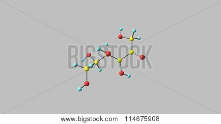 Fructose molecular structure isolated on grey