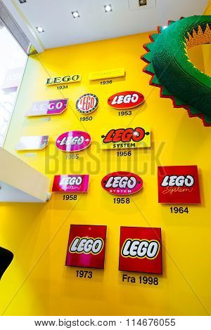 Copenhagen, Denmark - January 3, 2015: The Lego Group Logo Shown Through Years In Lego Store In Cope