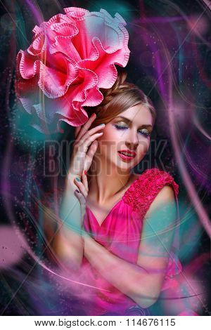 Girl with multi lines big pink flower