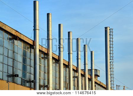 Fragment factory building with steel chimneys
