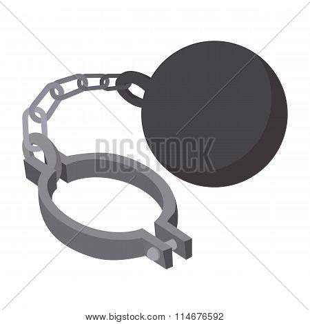 Prison ball and chain cartoon icon