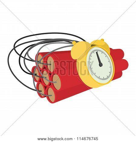 Bomb with clock timer cartoon icon