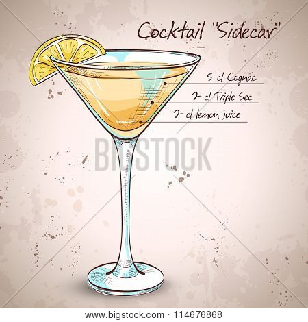 Sidecar cocktail in martini glass, vector illustration, EPS 10