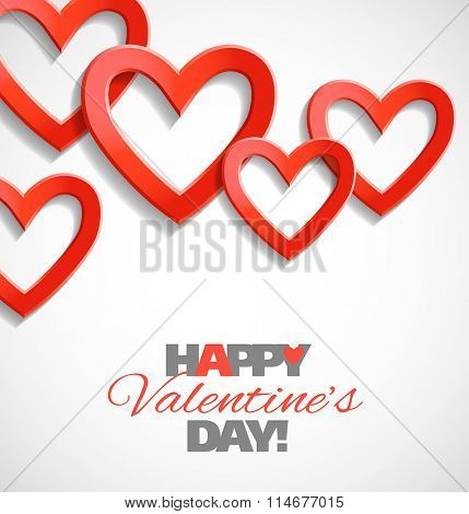 Valentine day card with heart shapes. Vector illustration.