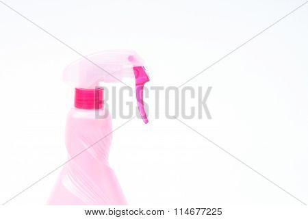 Pink Plastic Foggy Spray Bottle Isolated On White Background