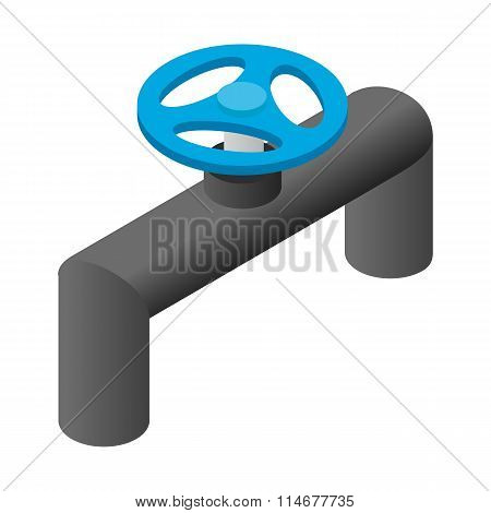 Pipeline valve stopcock isometric 3d icon