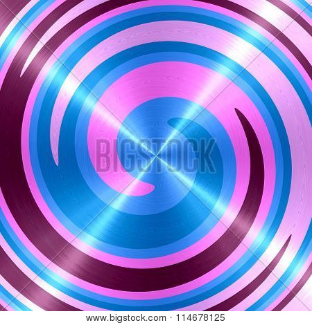 Abstract Blue Pink Purple Spiral Stainless Steel Background