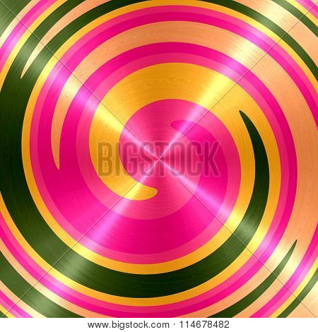 Abstract Gold Pink Green Spiral Stainless Steel Background