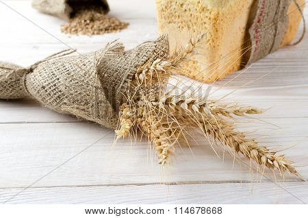 Spikelets Of Wheat Wrapped In Burlap