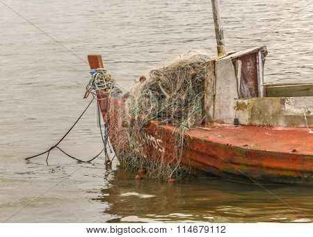 Old Fishing Boat At Santa Lucia River In Montevideo