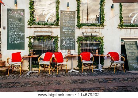 Copenhagen, Denmark - January 3, 2015: Vintage Old Fashioned Cafe Chairs With Table In Copenhagen, D