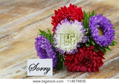 Sorry card with colorful aster bouquet on rustic wooden surface