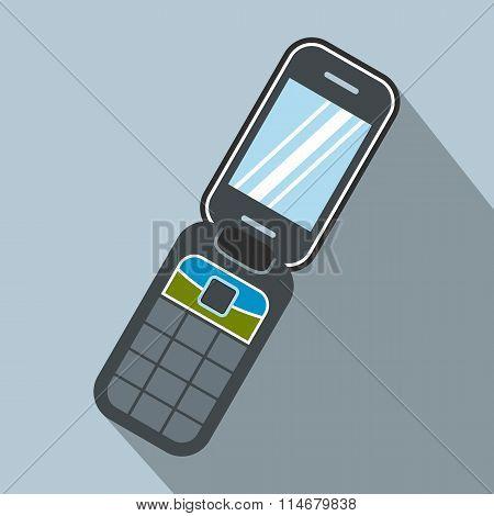 Clamshell handphone flat icon