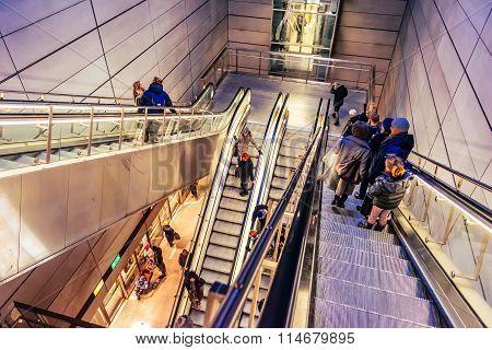 Copenhagen, Denmark - January 3, 2015: Every Day People Use Escalators In Copenhagen, Denmark, To Go