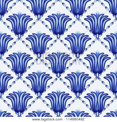 Seamless Geometrical Pattern In Style Gzhel. A Lattice With Large A Fantastic Flower. Stylization.